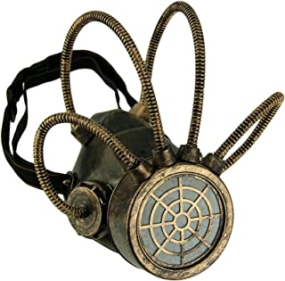 Metallic Bronze Steampunk Gas Mask with Corrugated Tubes