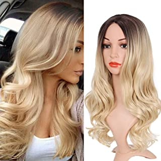 Ombre Wig Long Wavy Wigs for Women Ombre Blond Curly Wig Heat Resistant Soft Middle Part Wig for Women Girls Synthetic Daily Wigs