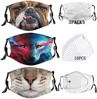 3Pcs Animal Galaxy Fantasy Wolf Cat Dog Art Dust Face Mask Adjustable Mouth Mask Balaclava Bandanas with Filter Paper for ...