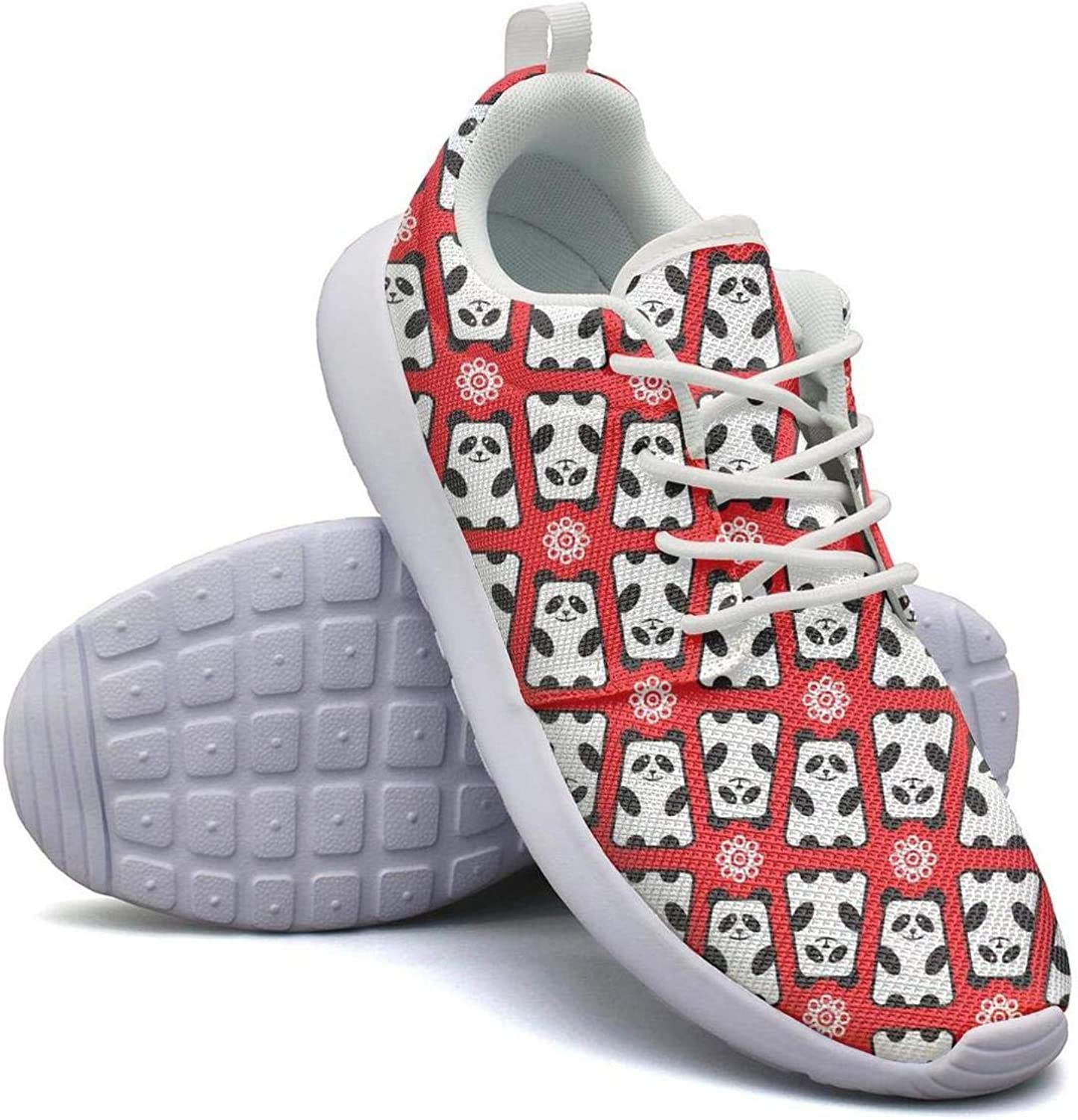 FEWW11 Women Fashion Lightweight shoes Sneakers Giant Panda Bears Pattern Canvas Upper Running Lace-Up