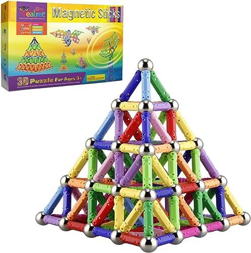 Veatree Blocs de Construction Magnétique 3D Jouet de Puzzle Jeux de Construction avec Bâtons Magnétique Colorés pour ...