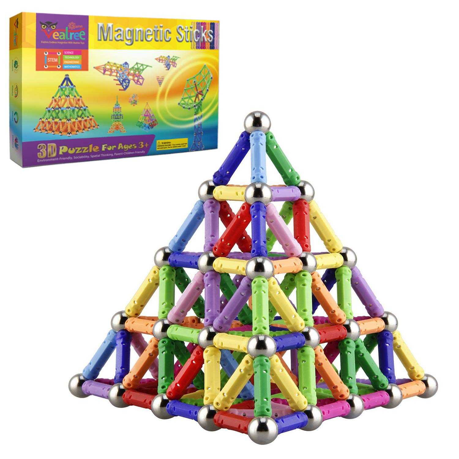 Veatree 160 Pcs Magnetic Building Sticks Blocks Toys, Magnet Educational Toys Magnetic Blocks Sticks Stacking Toys Set for Kids and Adult, Non-Toxic Building Toy 3D Puzzle with Storage Bag