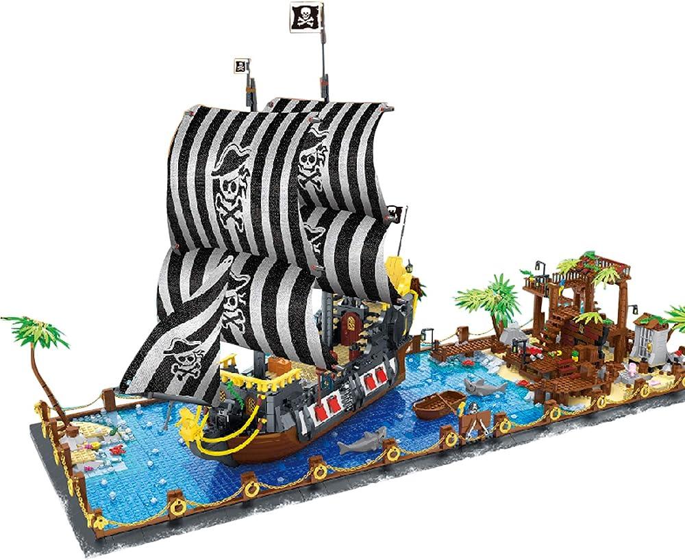 Dsxx set di mattoncini da costruzione con nave pirata e piastra da costruzione,compatibile con mattoncini lego SRZ17N15BCV1W2260TAPLH