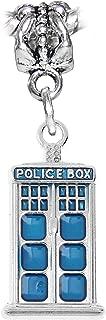 Police Box Blue Enamel Science Fiction Charm for European Bracelets