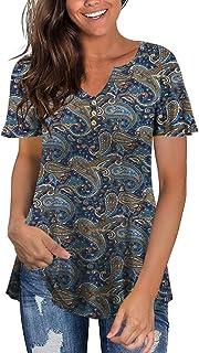 Women's Plus Size Long Sleeve Flowy Henley Shirt V Neck...