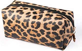 HOYOFO Leopard Cosmetic Bag Organizer Travel Portable Makeup Pouch Storage Toiletry Bag For Women,Light Leopard A