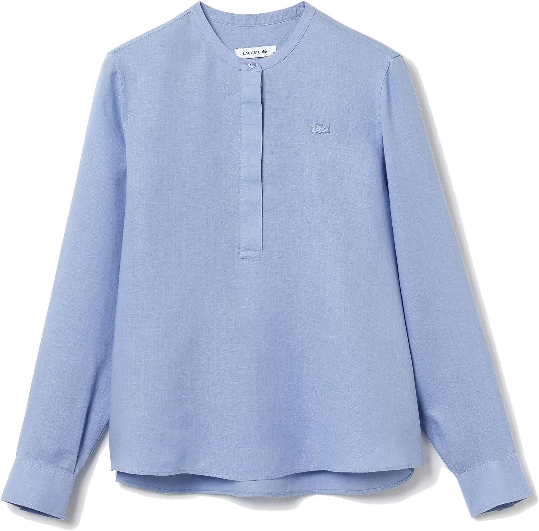 Lacoste Women's Long Sleeve Mandarin Collar Woven Shirt