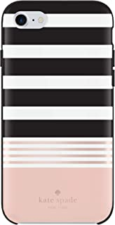 Kate Spade New York Phone Case | for Apple iPhone 8, iPhone 7, iPhone 6S, and iPhone 6 | Protective Phone Cases with Slim Design and Drop Protection - Stripe 2 Black/White/Rose Gold