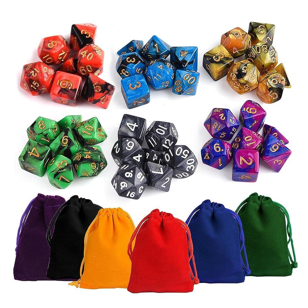 ショートカット研究所気がついてKUUQA trpg ダイス 6色×7種 42個 クトゥルフ 神話 ボードゲーム カードゲーム 用 ダイス セット サイコロ