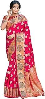 ساري هندي أنيق للنساء من الحرير الخالص مع قطعة بلوزة بتصميم أنيق احتفالي 6064