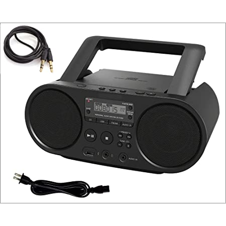 Sony Portable Bluetooth CD Player Boombox Digital Tuner AM/FM Radio Mega Bass Reflex Stereo Sound System with AUX 3.5 to 3.5 Male Wire