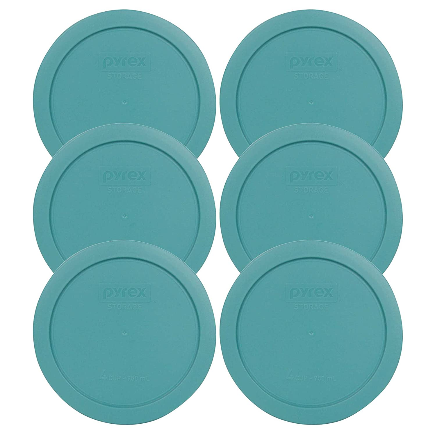 Pyrex 7201-PC Round 4 Cup Storage Lid for Glass Bowls (6, Turquoise)