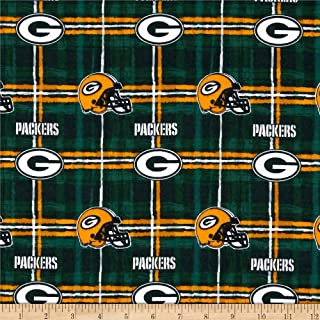 Fabric Traditions Yellow NFL Flannel Green Bay Packers Fabric by The Yard