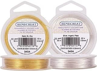 BENECREAT 2 Rolls 24-Gauge Tarnish Resistant Silver/Gold Coil Wire, 196-Feet/66-Yard in Total