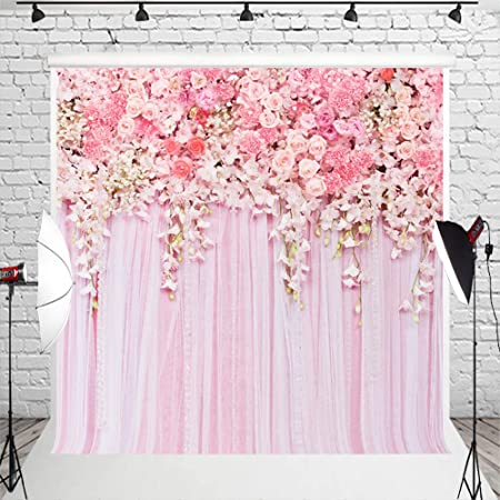 Colorful Blooming Petals Doodle Style Abstract Foliage Silhouettes Background for Baby Shower Birthday Wedding Bridal Shower Party Decoration Photo Studio Spring 6x8 FT Photography Backdrop