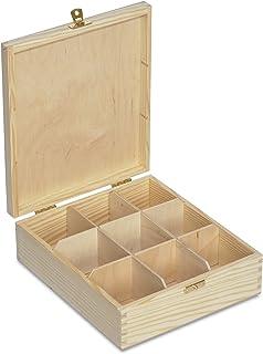 Creative Deco Caja para Té en Bolsitas Madera | 9 Compartimentos | 23,5 x 20,5 x 7,5 cm | Varias Medidas Disponibles | con Tapa y Cerradura | Ideal para Decoupage, Decoración y Almacenaje