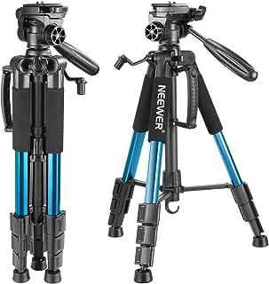 Neewer 142cm Trípode de Cámara de Aluminio con Rótula de 3 Vías Giratorio Bolsa de Transporte para cámara DSLR DV Video Videocámara Carga hasta 4 kilogramos Azul(SAB234)
