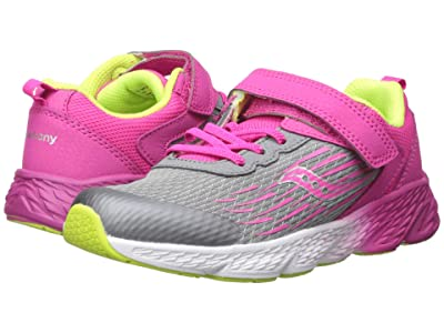Saucony Kids Wind A/C (Little Kid/Big Kid) (Grey/Pink) Girls Shoes