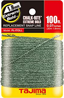 TAJIMA Replacement Snap-Line - 1.8 mm x 100 ft Chalk-Rite Dura Braided String for Extreme-Bold & Visible Markings - PL-ITOLL