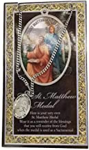 (39 6/18) Saint Matthew Genuine Pewter Medal with Stainless Chain & Prayer Card PATRONA Series with Copyrighted Paul Herbert Blessing
