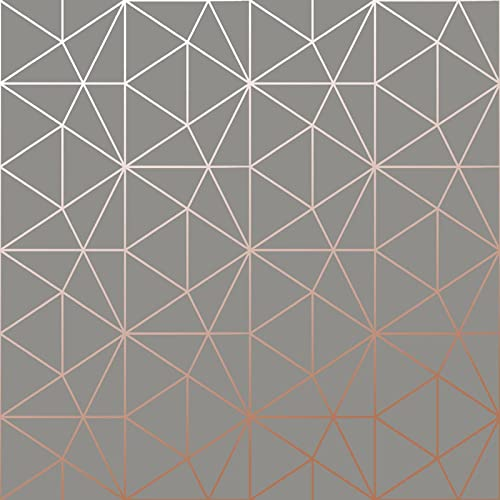 Metro Prism Geometric Triangle Wallpaper - Charcoal and Copper - WOW007 World of Wallpaper