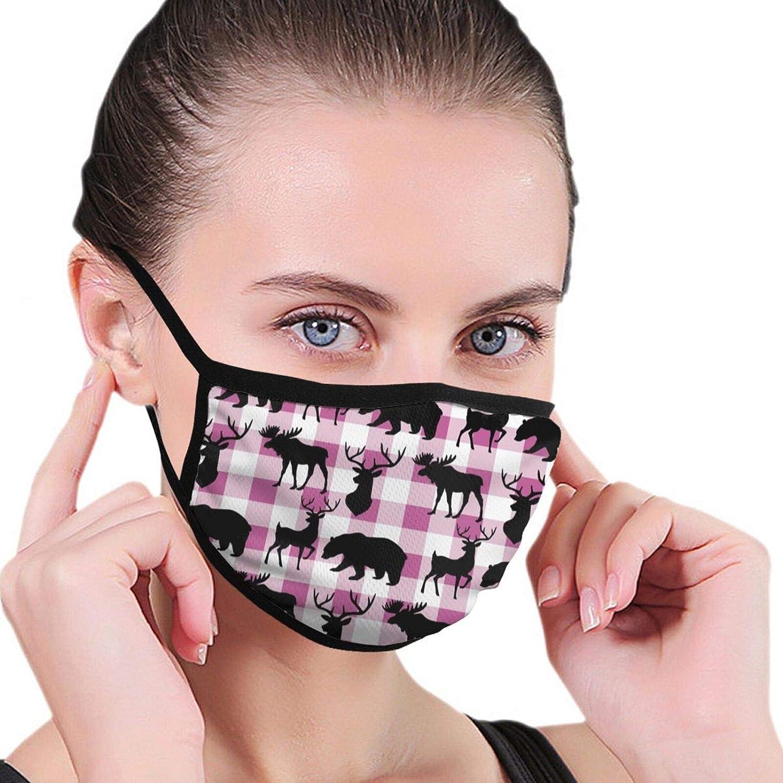 2 Packs Washable Buffalo Plaid Woodland Moose Bear Facial Covering Mouth Protection Unisex Cotton