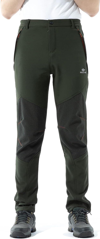 PECTNK Los Pantalones al Aire Libre de los Hombres Que Son de Fleece Impermeable de c¨¢scara Blanda