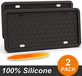 Two Peak Silicone License Plate Frame, License Plate Holder, Rust-Proof, Rattle-Proof, Weather-Proof, Car License Plate – Black (2 Pack)
