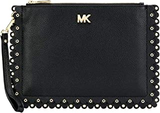 MICHAEL Michael Kors Medium Scalloped Pebbled Leather Pouch - Black