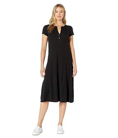 LAUREN Ralph Lauren Waffle-Knit Cotton Midi Dress (Polo Black) Women