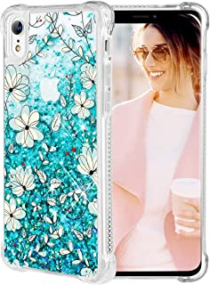 Caka iPhone XR Case, iPhone XR Floral Glitter Case Flower Pattern Series Sparkle Fashion Bling Luxury Flowing Liquid Floating Cute Glitter Soft TPU Clear Case for iPhone XR (Teal Vine)