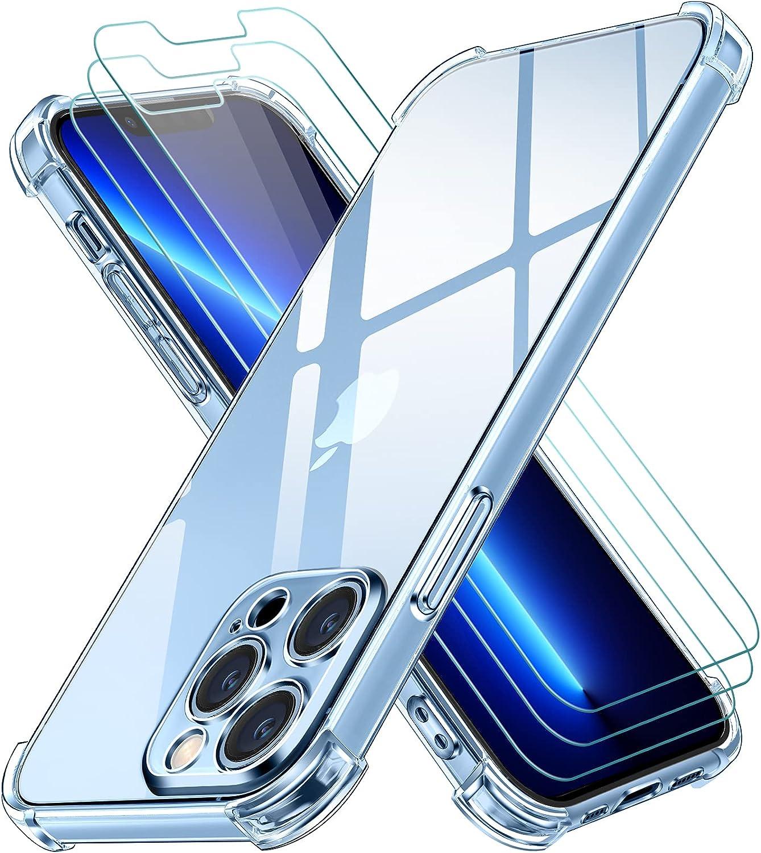 ivoler Funda Compatible con iPhone 13 Pro MAX con Protección de La Cámara y 3 Piezas Cristal Templado, Carcasa Protectora Anti-Choque Transparente, Suave TPU Silicona Caso Delgada Anti-arañazos Case