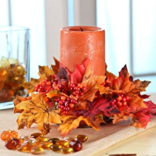 Factory Direct Craft Package of 4 Vibrant Fall Inspired Artificial Silk Fall Leaf Candle Rings with Autumn Berries.