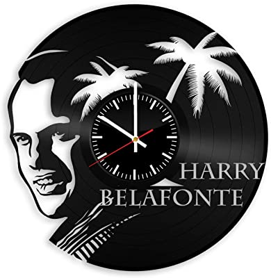 OlhaArtShop Harry Belafonte Vinyl Wall Clock, King of Calypso Music Vinyl Record Handmade Art Decor