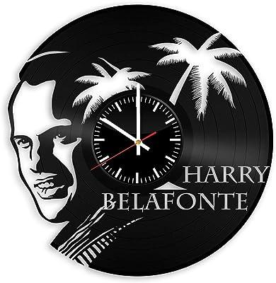 OlhaArtShop Harry Belafonte Vinyl Wall Clock, King of Calypso Music Vinyl Record Handmade Art Decor