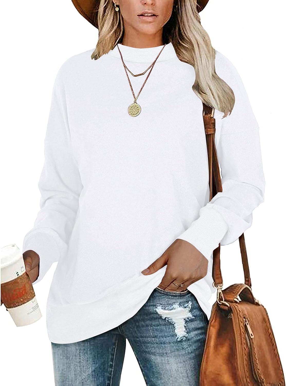 PLMOKEN Plus Size Sweatshirts for Women Casual Long Sleeve Round Neck Shirts tunic tops for Leggings M-4XL