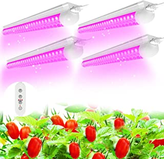 (Pack of 4) SHOPLED LED Grow Lights, Full Spectrum LED 80W(20W x 4), T8 2FT Integrated Fixture Lamp, Linkable Plug and Pla...
