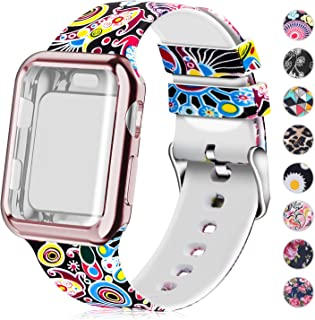 Compatible for Apple Watch Band 44mm Women with Screen Protector Case, Soft Silicone Sport Wristband for Apple Watch iwatch Series 5 4 (44mm,Folk Custom)