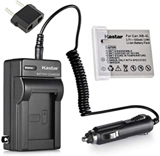 Kastar Battery + Charger for Canon NB-4L NB4L CB-2LV 2LVE and Digital IXUS 30 40 50 55 60 65 75 Digital IXUS i Zoom Digital IXUS i7 Zoom Cameras