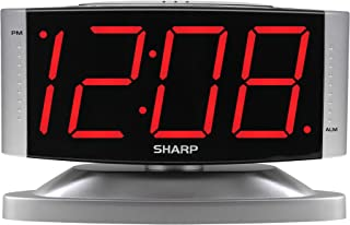 SHARP Home LED Digital Alarm Clock – Swivel Base - Outlet Powered, Simple Operation, Alarm, Snooze, Brightness Dimmer, Big Red Digit Display, Silver Case