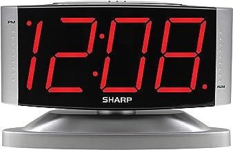 ساعت زنگ دار دیجیتال SHARP Home LED - پایه مفصل گردنده - خروجی طراحی شده ، بهره برداری ساده ، زنگ هشدار ، تعویق ، روشنایی دیمر ، نمایشگر بزرگ قرمز قرمز ، کیس نقره