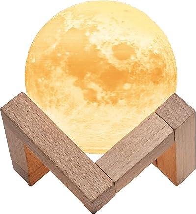 TaoTronics Lampe Lune Imprimée en 3D, Veilleuse avec 3 Modes de Couleur Chaud, Blanc Chaud & Froid, Lumière Lunaire Commande Tactile, Luminosité Réglable & Charge USB - 8cm