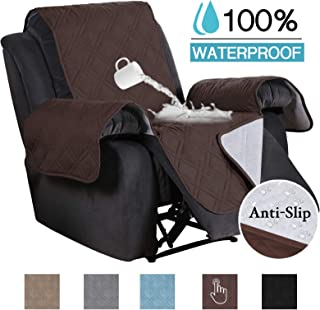 100% Waterproof Non-Slip Furniture Covers for Leather Recliner Covers for Large Recliner Seat Width Up to 30 Inch Couch Covers with Non Slip Backing (Oversized Recliner: Seat Width Up to 30, Brown)