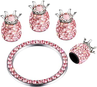 Valve Stem Caps 4 Pack Handmade Crystal Rhinestone Dust Caps Universal Tire Valve ,Bling Car Accessories with 1 Piece Ring Emblem Sticker for Ignition Engine Auto Start Button Key (Pink)