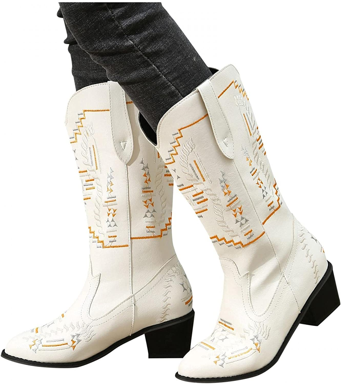 Cowboy Boots for Women Western Mid Calf Boots Cowgirl Western Low Heel Vintage Embroidered Cowgirl Boots Slip-on Shoes