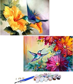 GIEAAO Acrylic Paint by Numbers for Adults Bird, DIY Oil Painting Kit Flower Canvas Pictures Drawing Paintwork with Paintb...