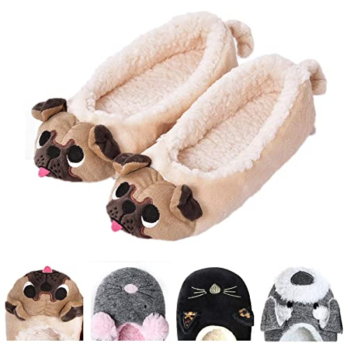3cb494ad086 Women s Plush Winter Warm Animal Soft Cute Home Slippers Dog