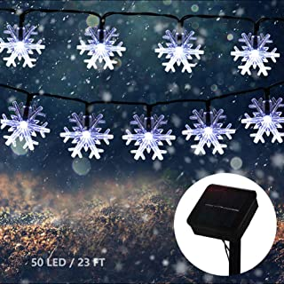 MQ Christmas Snowflake String Lights, Snowflake Fairy String Light Solar Powered Waterproof 50 LED 8 Modes 23ft Xmas Decor...
