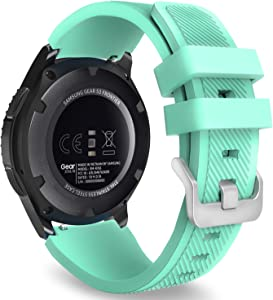 MoKo Band Compatible with Samsung Galaxy Watch 3 45mm/Gear S3 Frontier/Classic/Galaxy Watch 46mm/Huawei Watch GT2 Pro/GT 2e/GT 46mm/GT2 46mm/Ticwatch Pro 3, Silicone Strap Fit 22mm Band, Mint Green