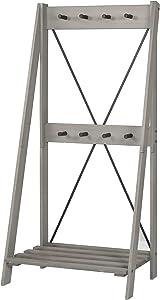 Walker Edison Furniture Company Solid Wood Angled Hall Tree, 68 Inch, Grey